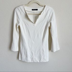 Marc Cain Ivory 3/4 Sleeve V Neck Blouse Fitted